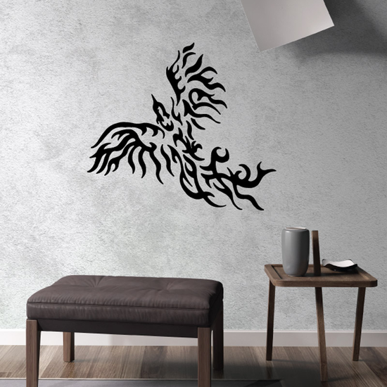 Soaring Flame Feathered Eagle Decal