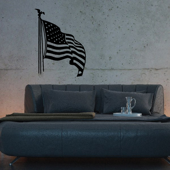 Rippling America Flag in Wind Decal