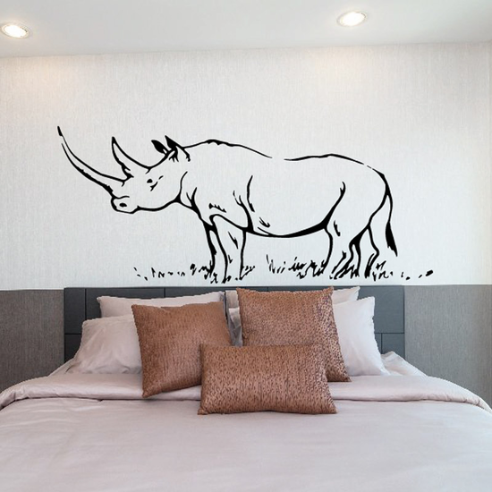 Great Horned Rhino on Grass Decal