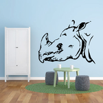 Horned Rhino Head Decal