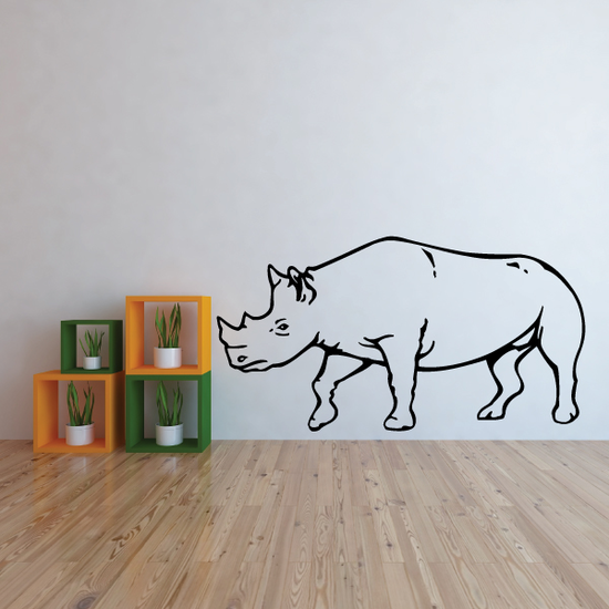 Cautious Rhino Decal