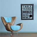 Table Tennis Word Collage Decal