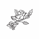 Bird on Holly Branch Decal