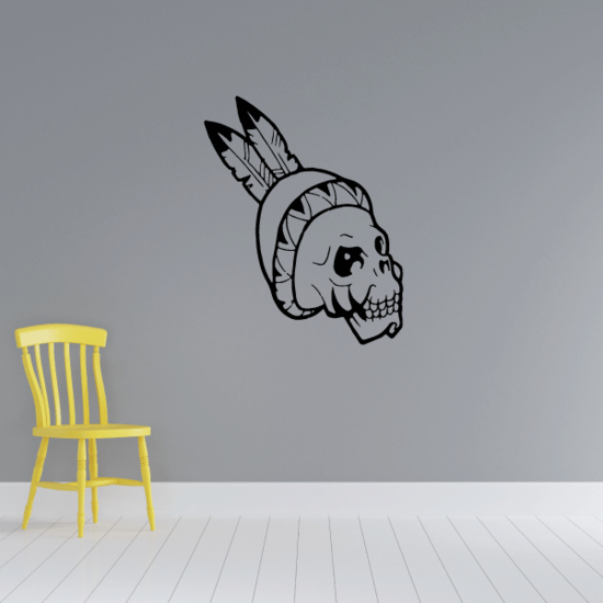 Skull Indian Headband Wall Decal - Vinyl Decal - Car Decal - CF248