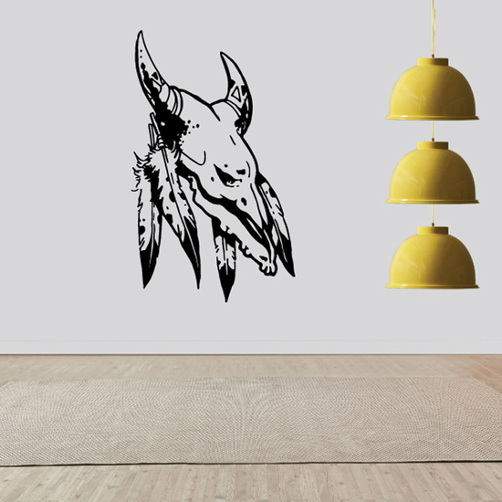 Skull Cow Horns Feathers Wall Decal - Vinyl Decal - Car Decal - DC6121