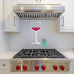 Wine Glass with Grapes Sticker