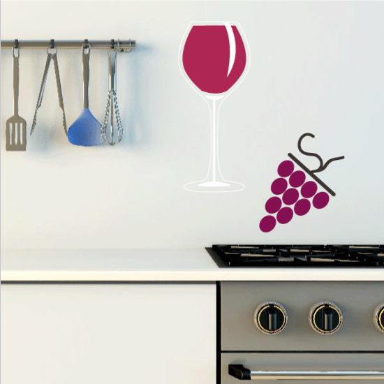 Full WIne Glas With Grapes Sticker