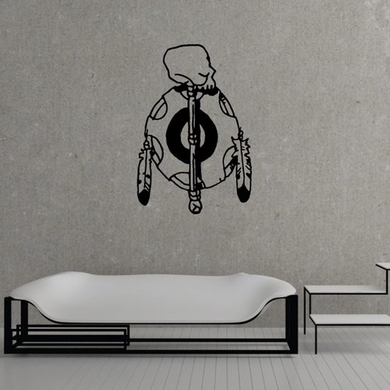 Skull Staff Leather Symbol Feathers Wall Decal - Vinyl Decal - Car Decal - DC6109
