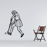 Female Field Hockey Player Hitting Ball Decal