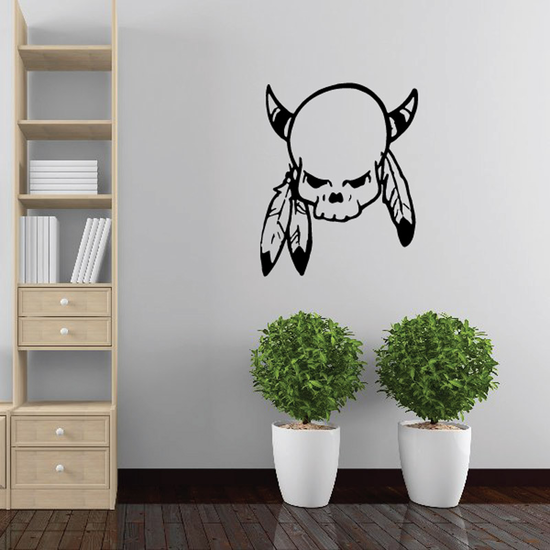Skull Horns Feathers Wall Decal - Vinyl Decal - Car Decal - DC6050