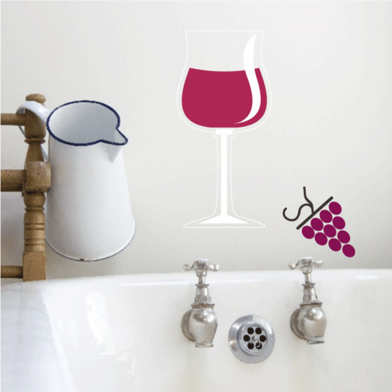 Half Full Wine Glass with Grapes Sticker
