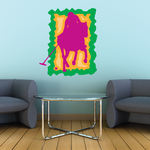 Pink Orange and Green Polo Player Sticker