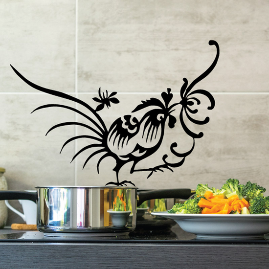 Rooster and Flower Decal