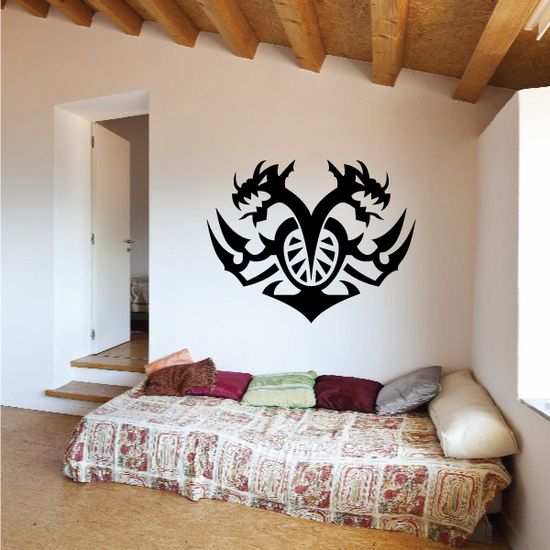 Double Dragon Tribal Wall Decal - Vinyl Decal - Car Decal - MC10