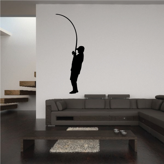 Fisherman Reeling In Decal