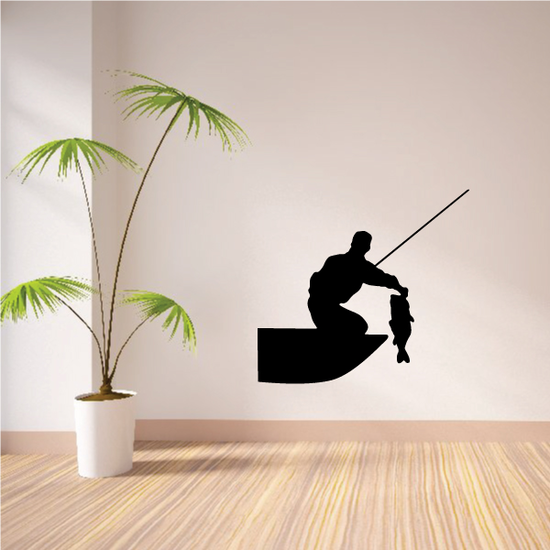 Bass Fishing on Boat Decal