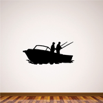Two Men Fishing in a Boat Decal