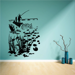Lake Marsh Fishing on a Boat Decal