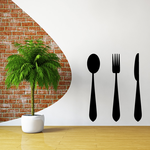 Spoon Fork and Knife Silhouette Decal