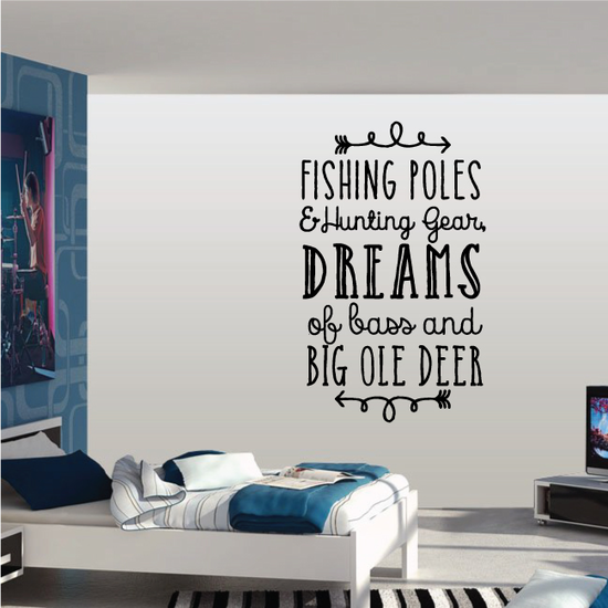 Fishing Poles and Hunting Gear Wall Decal - Vinyl Decal - Car Decal - Vd013