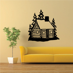Snowy Log Cabin Decal