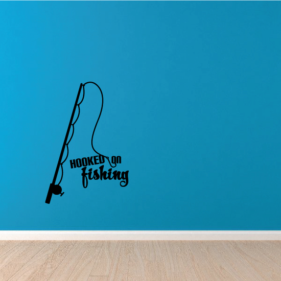 Hooked On Fishing Wall Decal - Vinyl Decal - Car Decal - Vd002