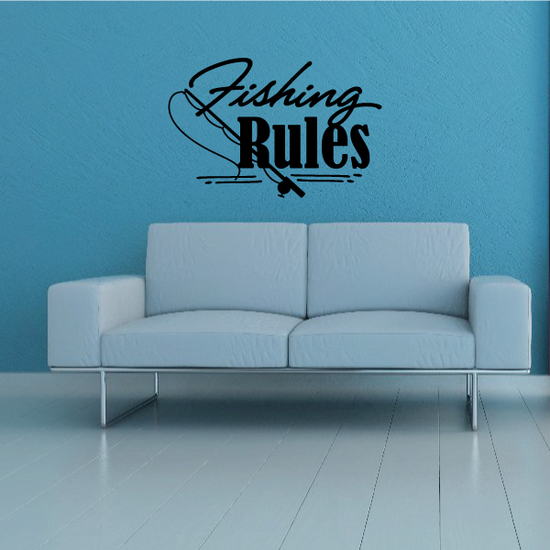 Fishing Rules Wall Decal - Vinyl Decal - Car Decal - Vd004