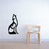 Sitting Howling Wolf Decal