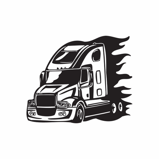 Semi Truck Wall Decal - Vinyl Decal - Car Decal - DC 035