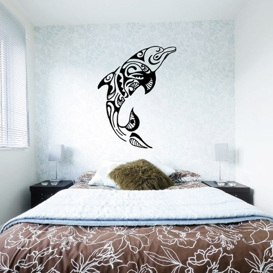 Intricate Tribal Swimming Dolphin Decal