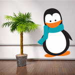 Penguin with Blue Scarf Sticker
