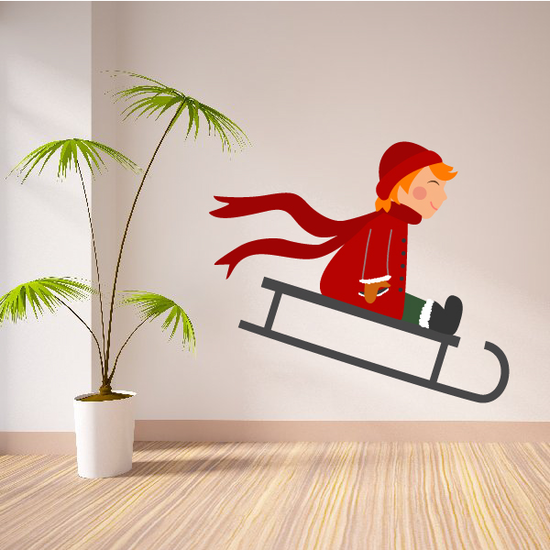 Boy Sledding Printed Die Cut Decal
