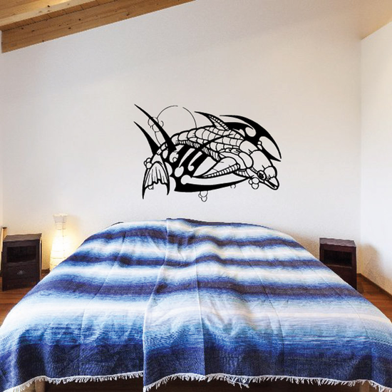 Intricate Razor Dolphin and Moon Decal