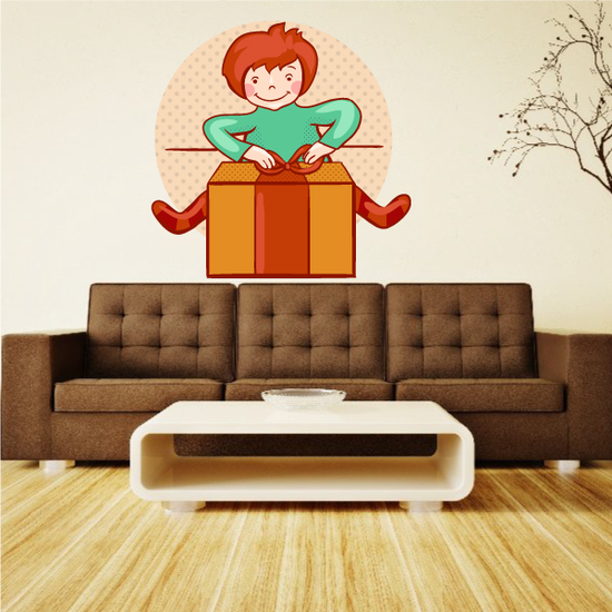 Child Opening Present Sticker