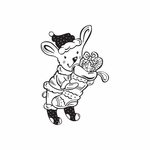 Christmas Bunny Character Holding Stocking Decal
