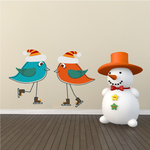 Christmas Young Birds Ice Skating Sticker