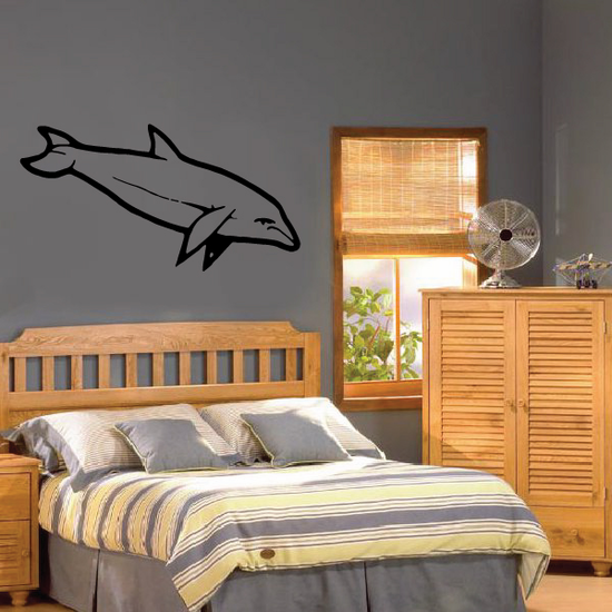 Focused Swimming Dolphin Decal