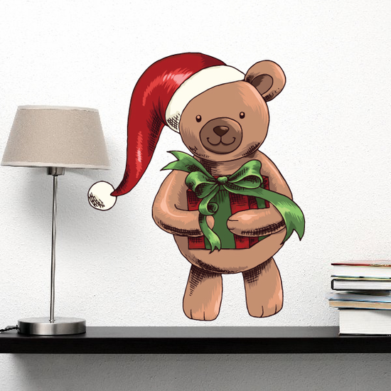 Christmas Bear Helper Wall Decal - Vinyl Car Sticker - Uscolor006