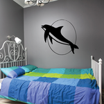 Dolphin Swimming and Moon Decal