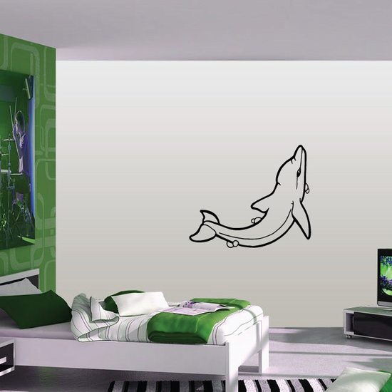 Dolphin with Bubbles Looking Up Decal