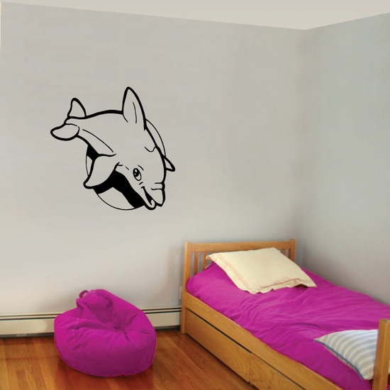 Kids Dolphin Swimming Over Moon Decal