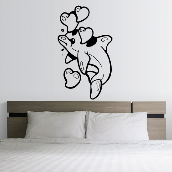 Bubbling Hearts Dolphin Decal