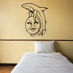 Shark Leaping Over Moon Face Decal