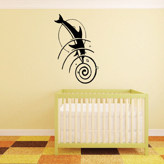 Dolphin Dive Moon Swirl Decal