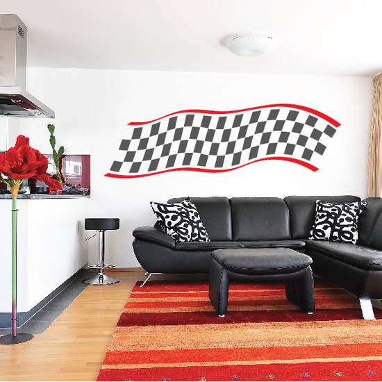 Checkered Flag Wall Decal - Vinyl Sticker - Car Sticker - Die Cut Sticker - SM004