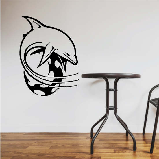 Tribal Moon and Dolphin Decal