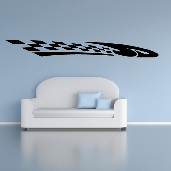 Checkered Flags Wall Decal - Vinyl Decal - Car Decal - SM009