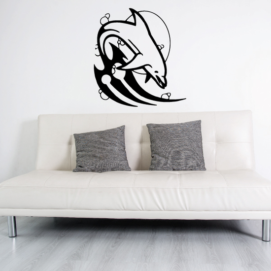 Tribal Wave Tail and Moon Dolphin Decal