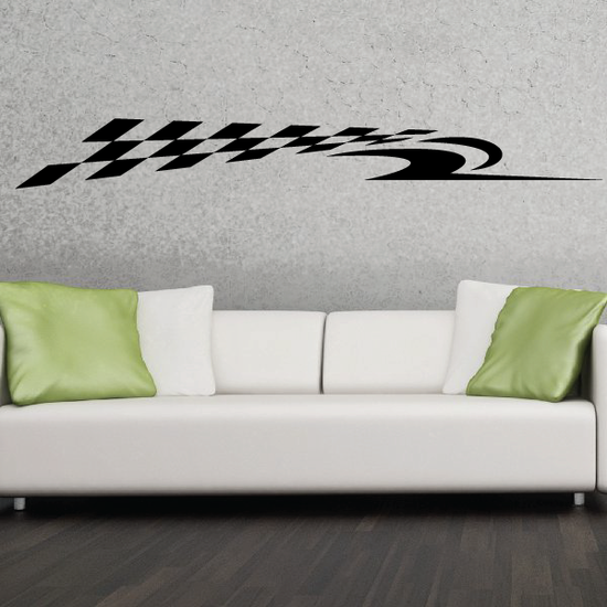 Checkered Flags Wall Decal - Vinyl Decal - Car Decal - SM013
