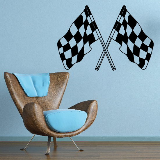 Checkered Flags Wall Decal - Vinyl Decal - Car Decal - SM017